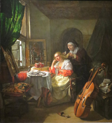 Gabrielle Metsu. The woman behind the toilet