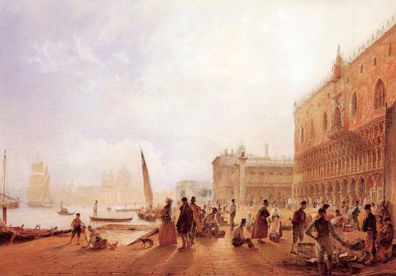 Rudolf Ritter von Alt. Figures by a river