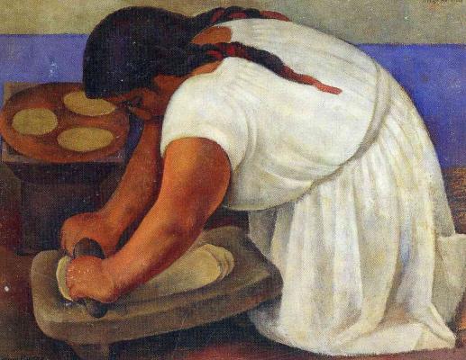 Diego Maria Rivera. Woman crushes corn