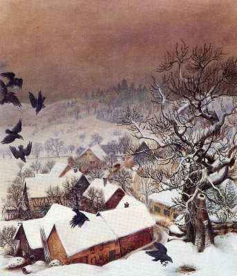 Otto Dix. Randegg in the snow with ravens