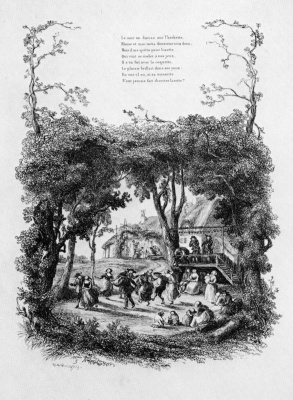 """Charles-Francois Daubigny. Illustrations to the collection """"French folk songs and songs"""": Song Lisetta, the second vignette: Rustic dance"""