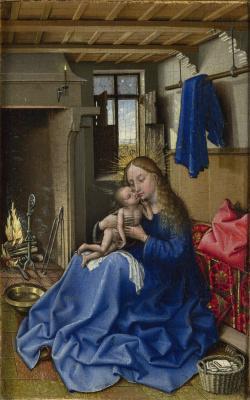 Робер Кампен. Мадонна с младенцем в комнате у камина