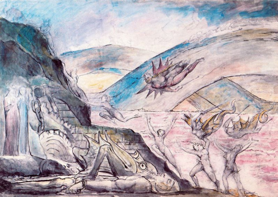 "William Blake. The demons that torment the pimps and the seducers. Illustrations for ""the divine Comedy"""