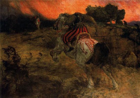 Arnold Böcklin. Running with a head You