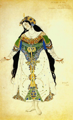 "Lev Samoilovich Bakst (Leon Bakst). A sketch of Princess costume for ""the Firebird"" by I. Stravinsky"