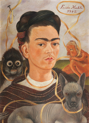 Frida Kahlo. Self-portrait with small monkey