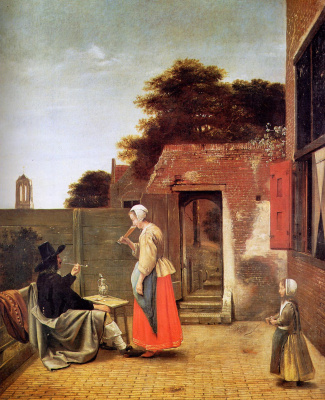 Pieter de Hooch. Dutch yard. Man with pipe and woman drinking wine