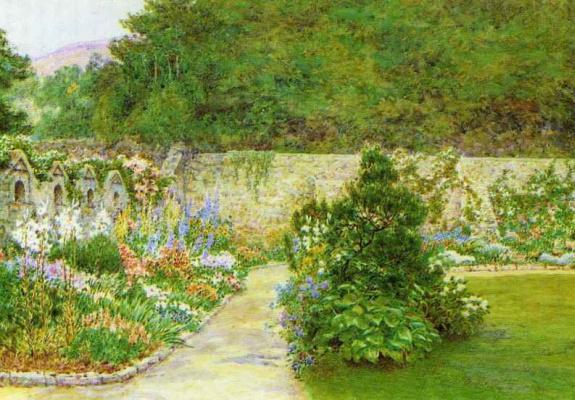 Arthur Hughes. The wall of the garden at the church of St. Boniface
