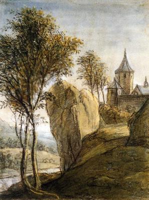 Антони Ватерлоо. Горный пейзаж с замком на скале
