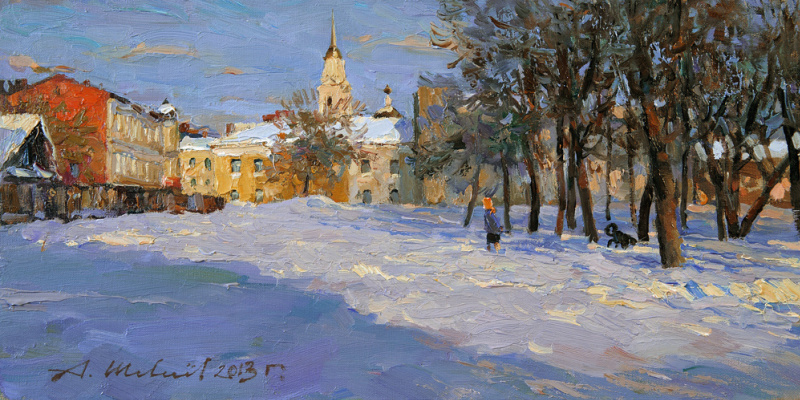 Alexander Victorovich Shevelyov. Shade of the evening.Rybinsk.Oil on canvas 21,5 # 42,5 cm 2013