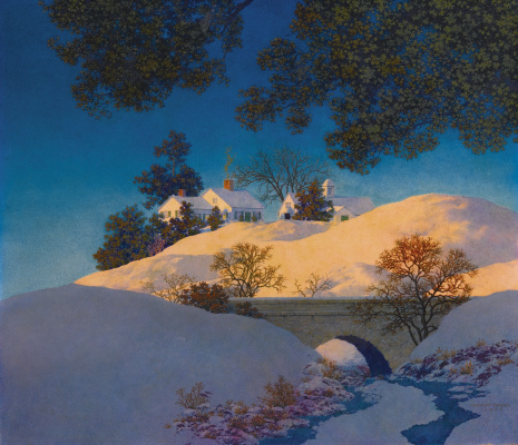 Maxfield Parrish. Winter landscape. Sunlight on the snow