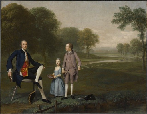Артур Девис. Ричард Мортан, эсквайр из Такли, с племянником и племянницей Джоном и Сусанной Вейланд
