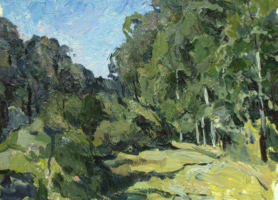 Boris Petrovich Zakharov. Old clearing. In the middle of summer. Etude.