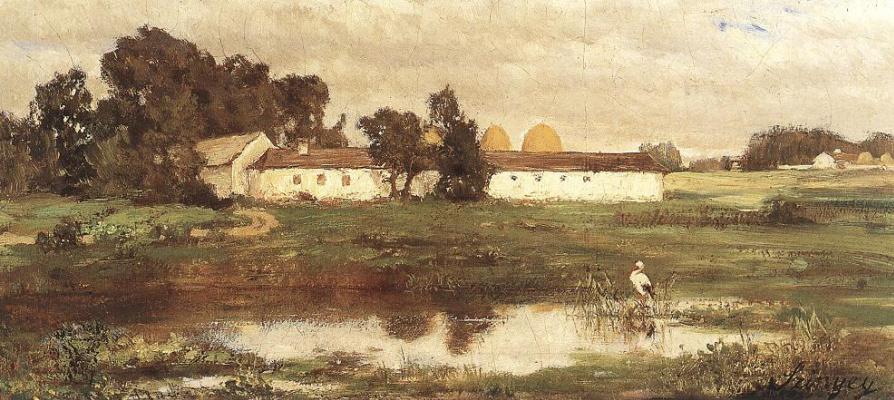 Pál Szinyei Merse. Landscape with a stork