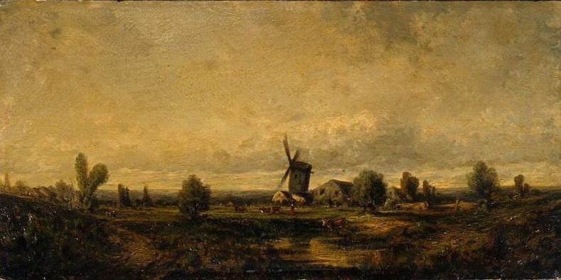 Жюль Дюпре. Пейзаж с ветряной мельницей
