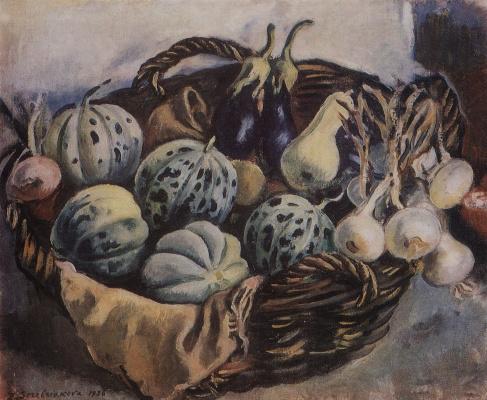 Zinaida Serebryakova. Basket with melons and squash