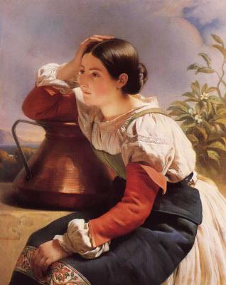 Franz Xaver Winterhalter. Young Italian girl at the well