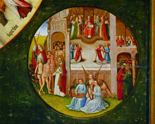 Hieronymus Bosch. Paradise. The seven deadly sins and the Four last things. Fragment
