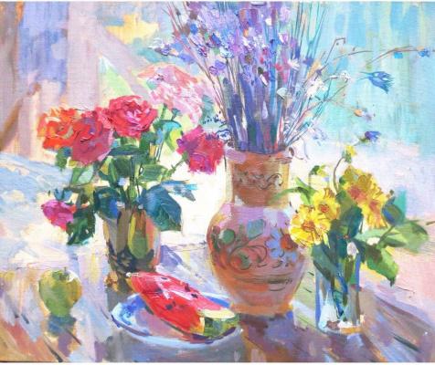 Виктория Коркишко. «Натюрморт с розами и арбузом»