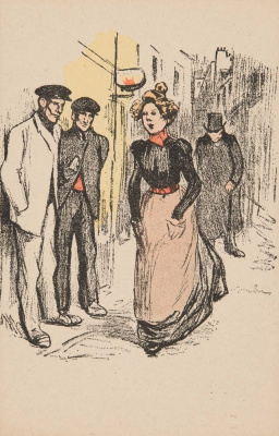 Theophile-Alexander Steinlen. A woman passing by onlookers