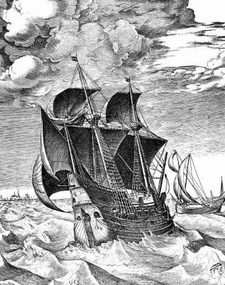 Pieter Bruegel The Elder. Ship in a stormy sea