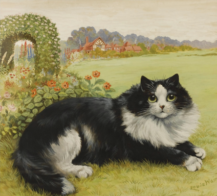 Louis Wain. Cat in the garden