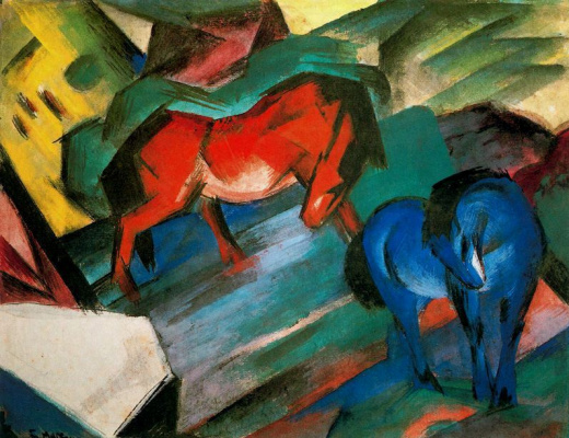 Franz Marc. Red and blue horse