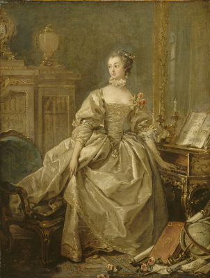 Francois Boucher. Madame de Pompadour with her hand on the keyboard harpsichord