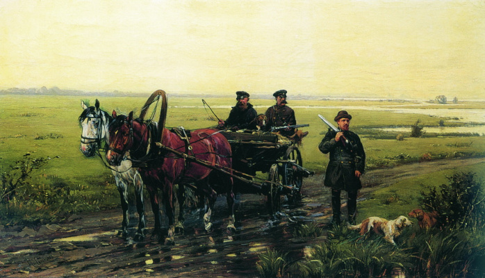 Nikolay Semenovich Samokish. Hunting scene. 1884