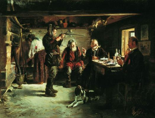 Vladimir Egorovich Makovsky. In the forester hut