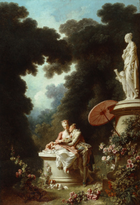 "Jean Honore Fragonard. A Declaration of love. From series of paintings ""Love adventure"""