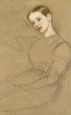 Arthur Hughes. Seated girl. Sketch