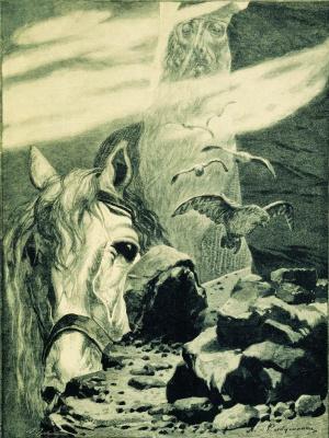 "Andrei Petrovich Ryabushkin. Svyatogor. 1895 Illustration for the book ""Russian epic warriors"""