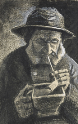 Vincent van Gogh. Fisherman in zuidvelde with a pipe and a coal box