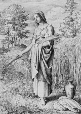 Julius Schnorr von Karolsfeld. Ruth on the field of Boaz