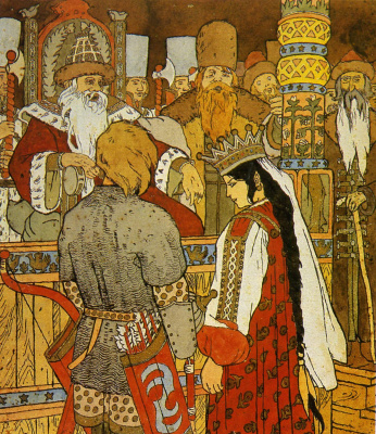 """Ivan Yakovlevich Bilibin. Illustration for the tale """"Ivan Tsarevich and the Gray Wolf"""""""