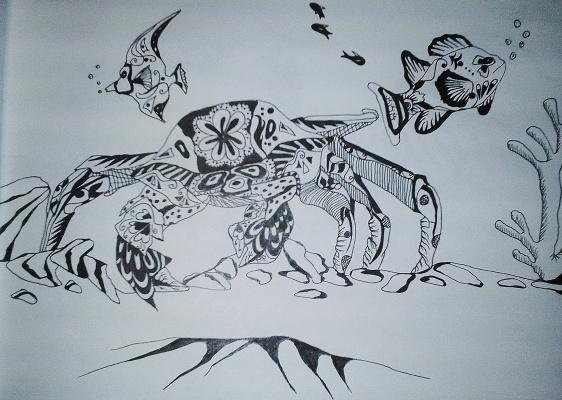 "Николай Николаевич Оларь. Series of stylized drawings: ""Underwater fantasy"" (14)"