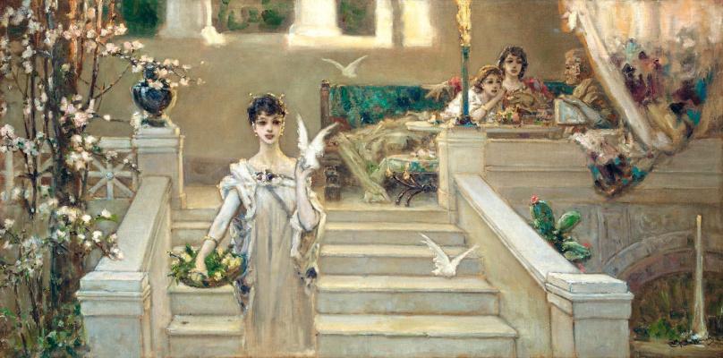Вильгельм Александрович Котарбинский. Римская красавица. (Красавица с голубями)