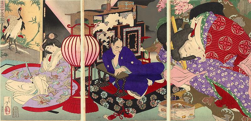 Tsukioka Yoshitoshi. Triptych: Shogun, cuneesi dreams of his beloved