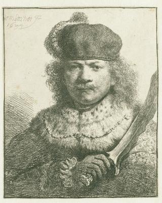 Рембрандт Харменс ван Рейн. Автопортрет с поднятой саблей