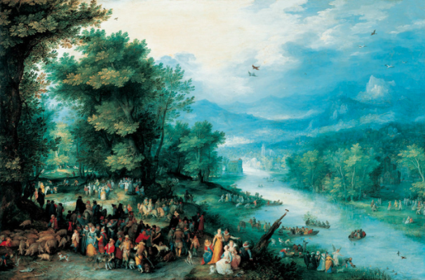 Jan Bruegel The Elder. Landscape with young Tobias