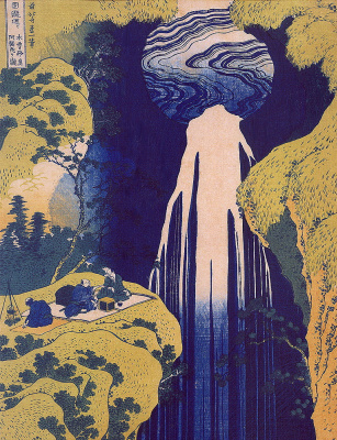 Katsushika Hokusai. Amida-ga-taki Waterfall on the Kiso Road