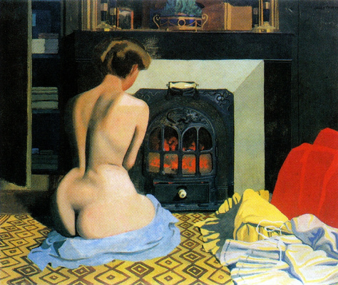 Felix Vallotton. Nude by the fireplace