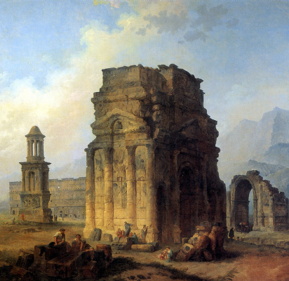 Hubert Robert. Triumphal arch and amphitheater at orange