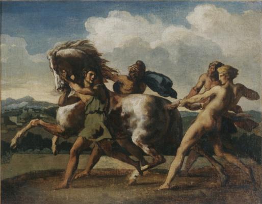 Théodore Géricault. Four young men holding a horse