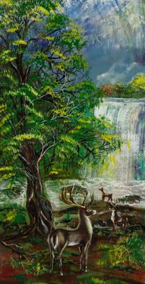 "Alla Struchayeva. Painting ""Deer House"""