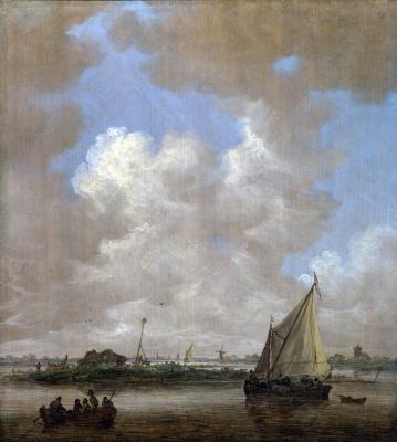 Ян ван Гойен. Речная сцена с хижиной на острове