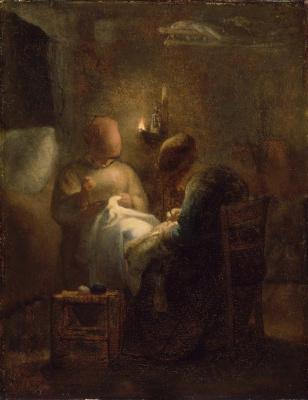 Jean-François Millet. Vigil. Women sew by lamplight