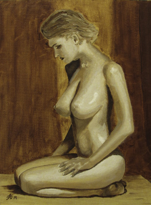Artashes Badalyan. The figure in brown grisaille - x-hardboard-m - 40x30