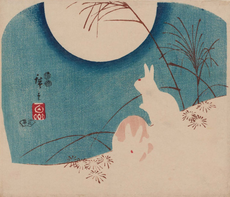 Utagawa Hiroshige. Rabbits in the steppe grass on a moonlit night